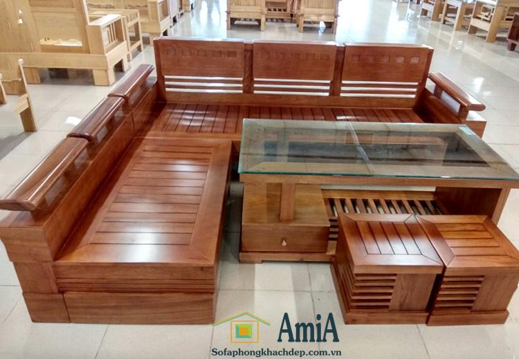Hình ảnh Mẫu sofa gỗ đẹp chữ L với kích thước nhỏ xinh cho nhà nhỏ, phòng khách nhỏ