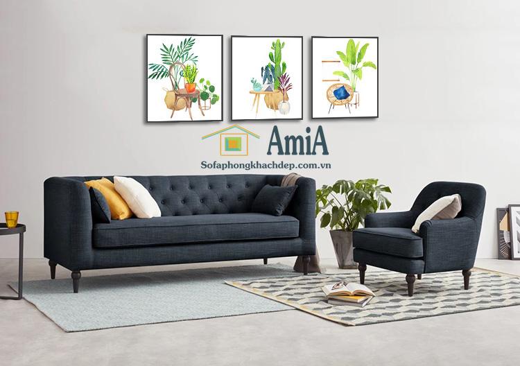 Hình ảnh Mẫu ghế sofa nỉ đẹp dạng văng màu sẫm cho phòng khách gia đình