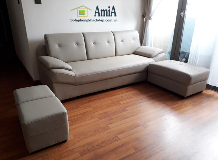 Hình ảnh Sofa văng da cho phòng khách nhà chung cư hiện đại