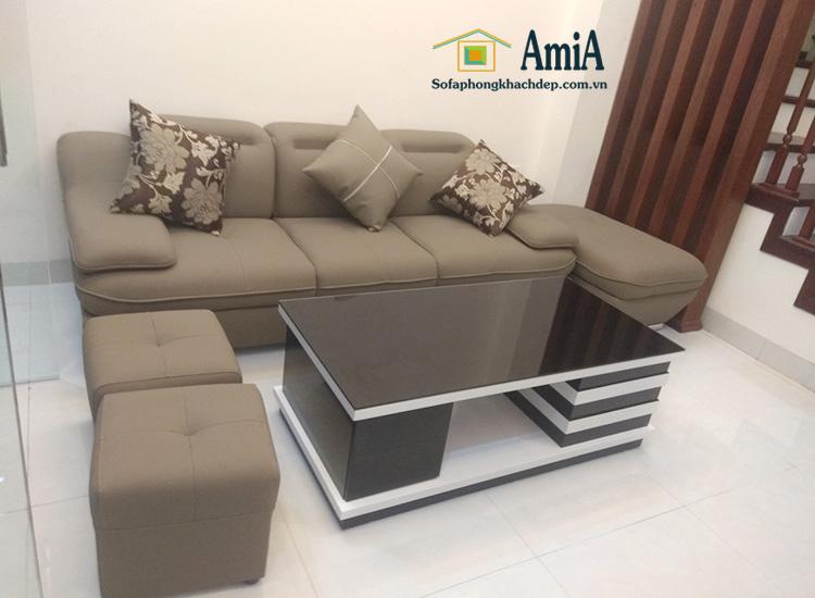 Hình ảnh Sofa văng da Hà Nội đẹp hiện đại cho phòng khách gia đình