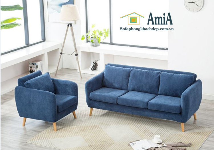 Hình ảnh Sofa văng đẹp chất liệu nỉ bài trí trong phòng khách hiện đại gia đình
