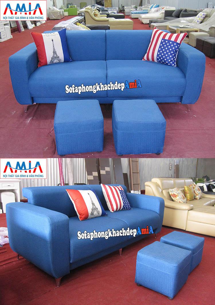Hình ảnh Sofa văng đẹp Hà Nội màu xanh cô ban