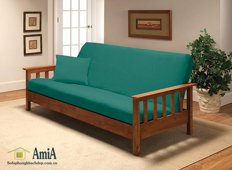 Hình ảnh Mẫu ghế sofa văng gỗ đẹp tích hợp đệm nỉ êm ái
