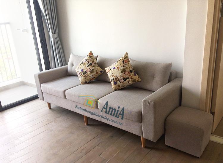 Hình ảnh Sofa văng nỉ đẹp hiện đại chụp thực tế tại nhà khách hàng