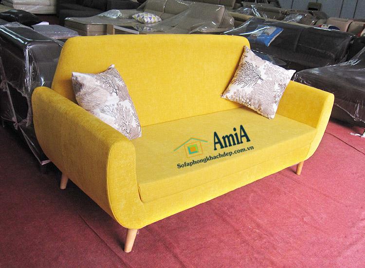 Hình ảnh Sofa văng nỉ nhỏ màu vàng đẹp xinh cho không gian căn phòng hiện đại