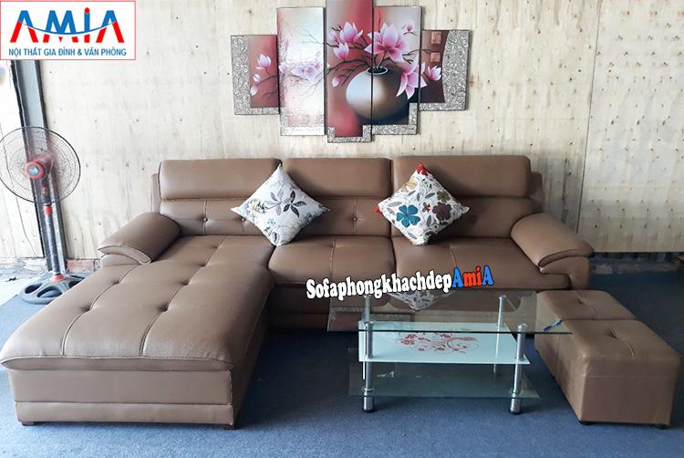 Hình ảnh Bàn ghế sofa da phòng khách đẹp hiện đại tại Hà Nội