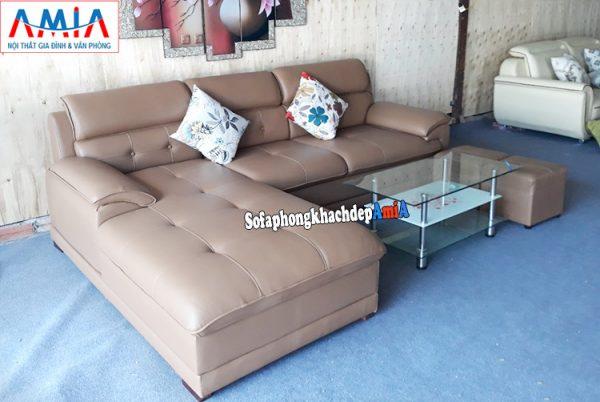 Hình ảnh Bộ sofa da phòng khách đẹp hiện đại chụp tại Nội thất AmiA
