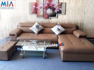 Hình ảnh Ghế sofa da đẹp phòng khách thiết kế hình chữ L rất được yêu thích