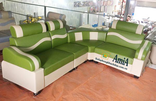 Hình ảnh Ghế sofa da góc nhỏ đẹp giá rẻ màu xanh cốm phối màu trắng
