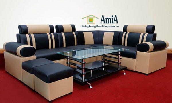 Hình ảnh Mẫu ghế sofa da phòng khách nhỏ giá rẻ thiết kế dạng sofa góc