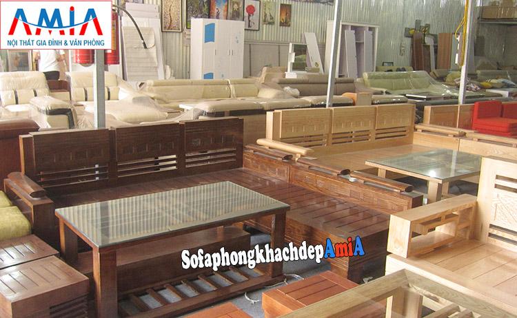Hình ảnh Ghế sofa gỗ góc chữ L đẹp cho phòng khách gia đình