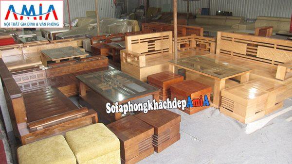 Hình ảnh Ghế sofa gỗ phòng khách đẹp thiết kế dạng góc