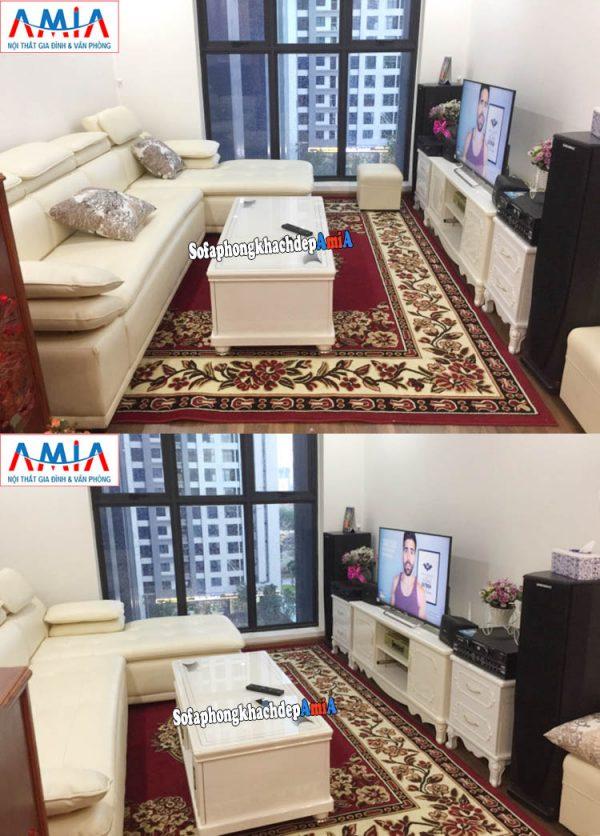 Hình ảnh Ghế sofa da cho nhà chung cư đẹp hiện đại và sang trọng với gam màu trắng tinh khôi