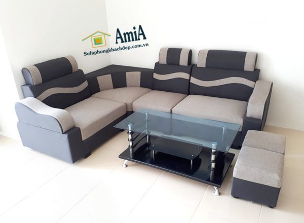 Hình ảnh Mẫu ghế sofa da giá rẻ đẹp hiện đại tại Hà Nội kết hợp bàn trà kính đẹp