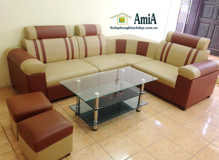 Hình ảnh ghế sofa da góc đẹp giá rẻ kê phòng khách hiện đại