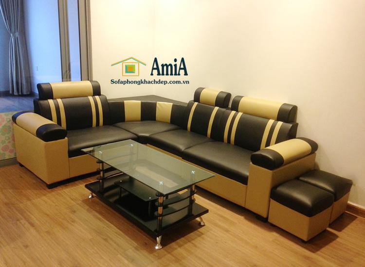 Hình ảnh Sofa da góc mini cỡ nhỏ giá rẻ cho phòng khách đẹp gia đình