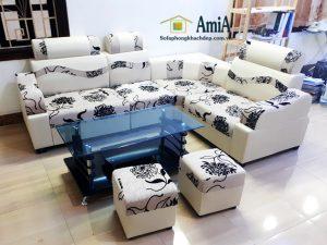 Hình ảnh Sofa da pha nỉ giá rẻ cho phòng khách đẹp gia đình