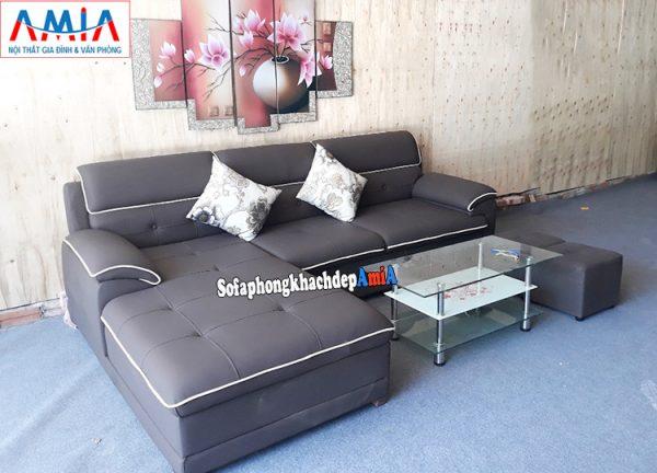 Hình ảnh Sofa da phòng khách đẹp Hà Nội kê không gian nhà phố đẹp