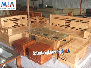 Hình ảnh Sofa gỗ góc phòng khách đẹp cho phòng khách gia đình
