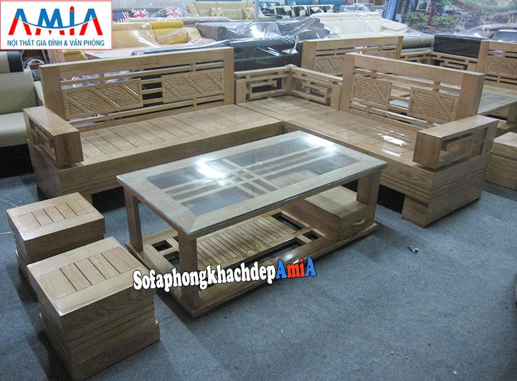 Hình ảnh Sofa gỗ phòng khách thiết kế dạng góc đẹp hiện đại