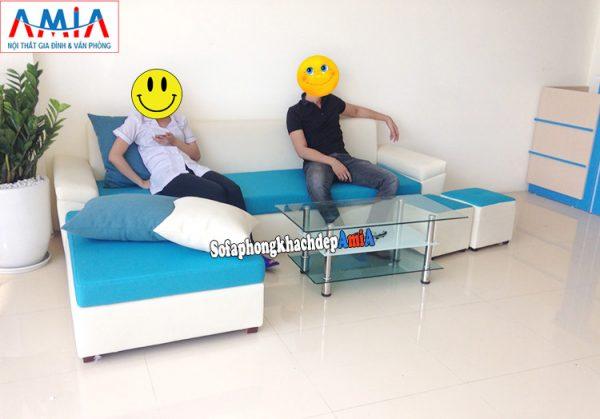 Hình ảnh Mẫu sofa nỉ chữ L cho phòng khách đẹp hiện đại và sang trọng