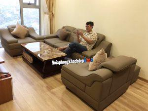 Hình ảnh Bộ bàn ghế phòng khách cho nhà chung cư kết hợp bàn trà sofa đẹp