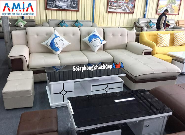 Hình ảnh ghế sofa da đẹp cho phòng khách hiện đại AmiA 157 với hình ảnh thực tế tại Tổng kho sofa AmiA