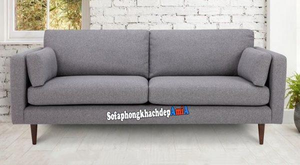 Hình ảnh Sofa cho phòng khách nhỏ dạng văng nỉ 2 chỗ màu ghi đẹp