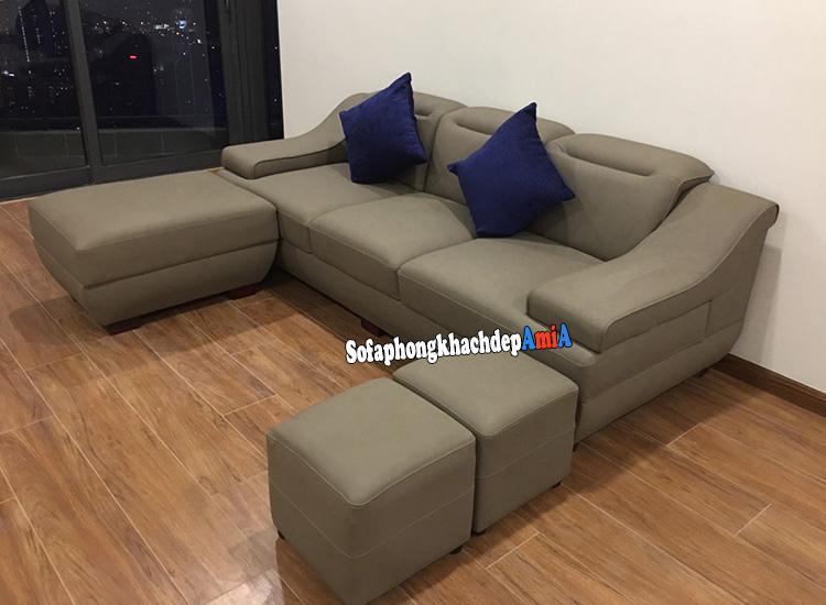 Hình ảnh Sofa chung cư hiện đại dạng văng da bài trí sát tường