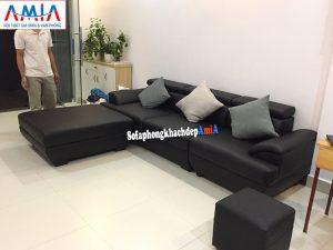 Hình ảnh Sofa da cho phòng khách nhỏ hiện đại đặt làm theo yêu cầu với dạng ghế sofa văng da kèm đôn lớn