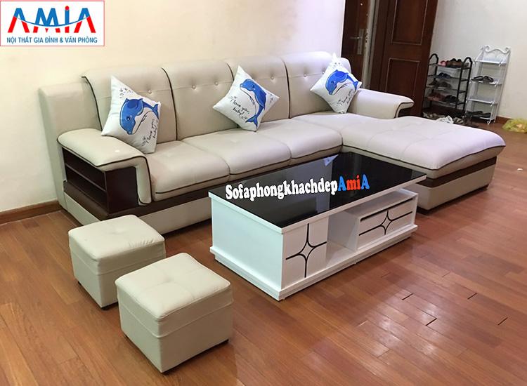 Hình ảnh Sofa da góc đẹp cho phòng khách lớn AmiA 157 chụp tại nhà khách hàng