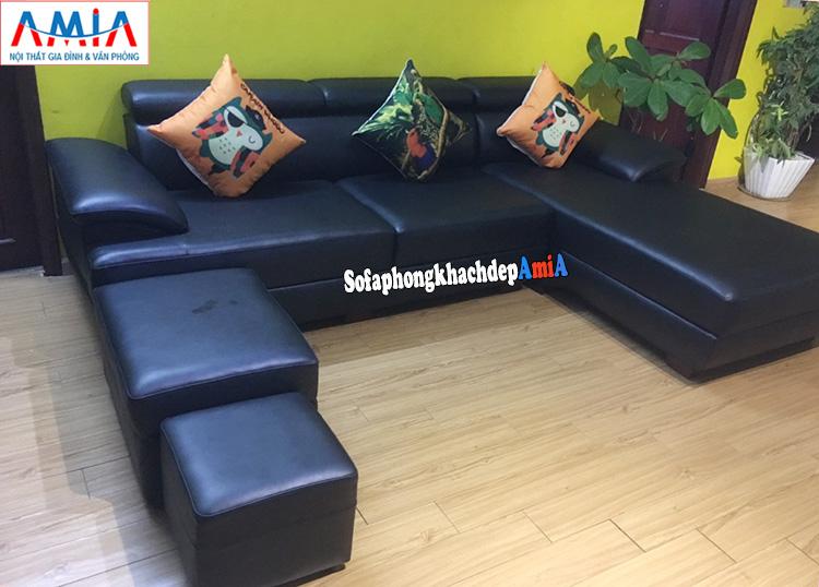 Hình ảnh Sofa da góc phòng khách đẹp AmiA 093 đặt làm theo yêu cầu gam màu đen