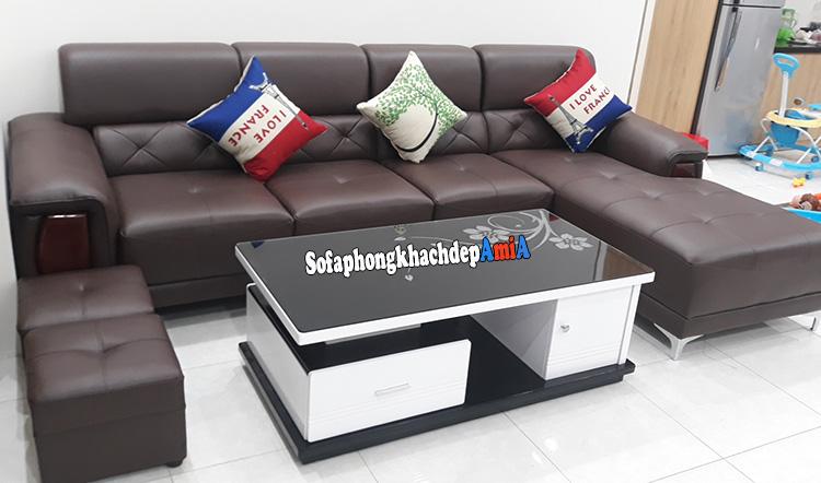 Hình ảnh Sofa da phòng khách đẹp giá rẻ AmiA 193 cho nhà phố, nhà chung cư