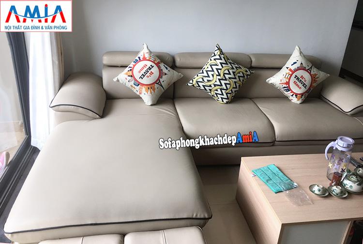 Hình ảnh Sofa da phòng khách đẹp hiện đại AmiA 093 cho nhà chung cư