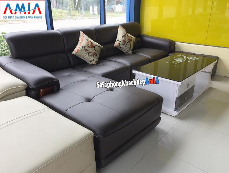Hình ảnh Sofa da phòng khách nhỏ đẹp AmiA với hình ảnh thực tế tại kho sofa AmiA