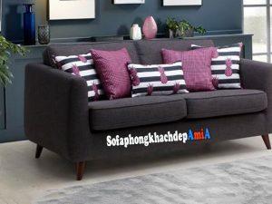 Hình ảnh Sofa dành cho phòng khách nhỏ chất liệu nỉ hiện đại kèm gối ôm nhiều màu