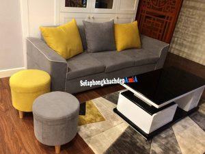 Hình ảnh Sofa đẹp cho nhà chung cư dạng văng nỉ kèm đôn tròn hiện đại