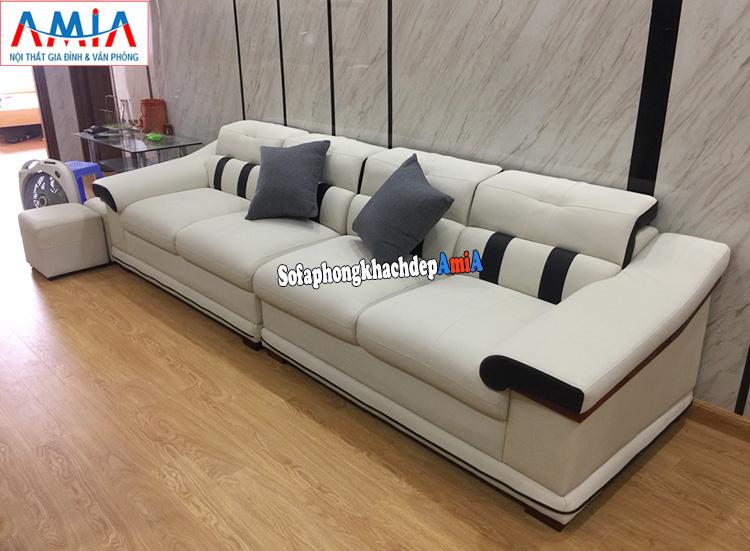 Hình ảnh Sofa đẹp cho phòng khách nhỏ dạng văng dài bài trí sát tường tiết kiệm diện tích căn phòng