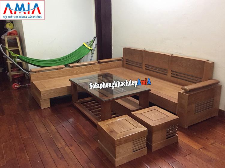 Hình ảnh Sofa gỗ cho phòng khách nhỏ xinh thiết kế hình chữ L hiện đại