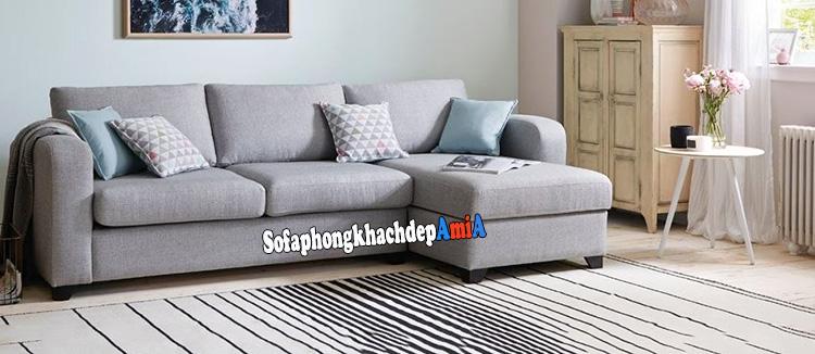 Hình ảnh Sofa góc nỉ phòng khách nhỏ đẹp thiết kế hình chữ L hiện đại