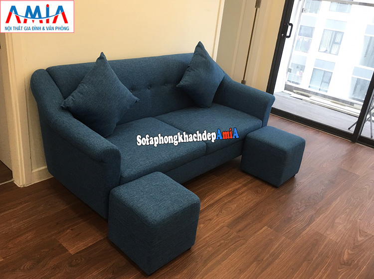 Hình ảnh Sofa nỉ cho phòng khách nhỏ giá rẻ kiểu ghế văng nỉ 2 chỗ