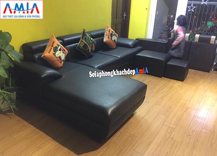 Hình ảnh Sofa phòng khách đẹp nhất và bán chạy AmiA 093 đóng theo yêu cầu màu đen