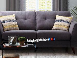 Hình ảnh Sofa phòng khách nhỏ xinh xắn chất liệu nỉ thiết kế rút khuy đính cúc hiện đại