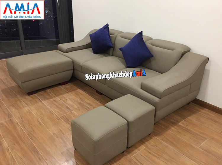 Hình ảnh Sofa văng da cho phòng khách đẹp chung cư AmiA 100 kết hợp đôn lớn