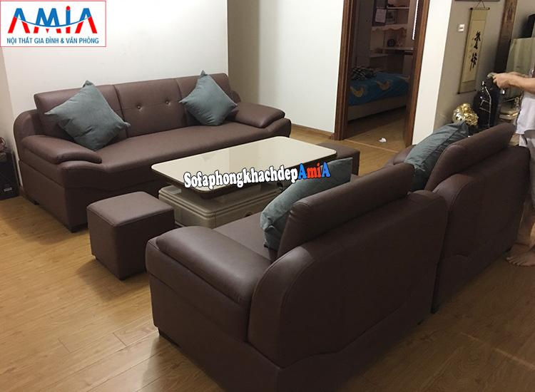 Hình ảnh bộ sofa văng da đẹp cho phòng khách AmiA 099 làm theo yêu cầu kích thước lớn