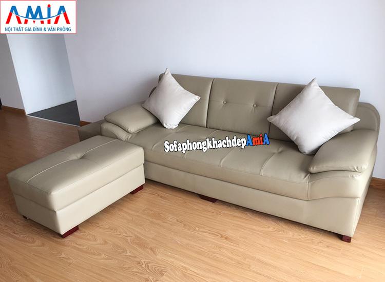 Hình ảnh Sofa văng da phòng khách đẹp AmiA 099 kê sát tường nhà chung cư