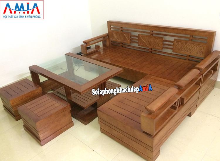 Hình ảnh Bộ bàn ghế sofa gỗ phòng khách đẹp hiện đại giá rẻ tại Hà Nội