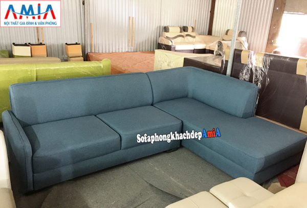 Hình ảnh Bàn ghế sofa nỉ phòng khách Hà Nội thiết kế hình chữ L đơn giản mà đẹp