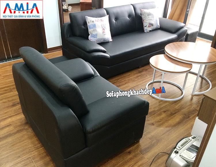 Hình ảnh Bộ bàn ghế sofa phòng khách hiện đại màu đen sang trọng