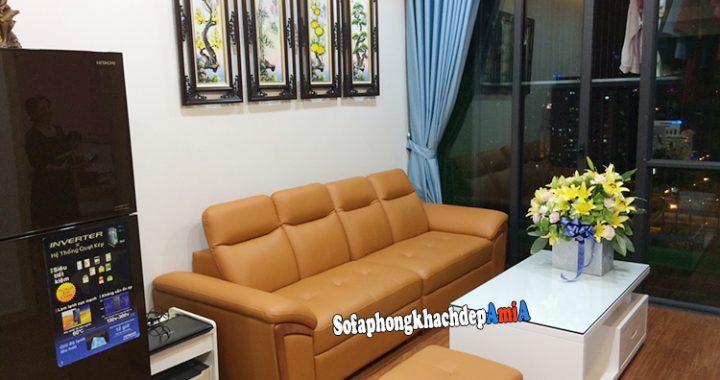 Hình ảnh Bộ bàn ghế sofa cho phòng khách nhỏ hẹp thiết kế dạng văng kết hợp đôn nhỏ